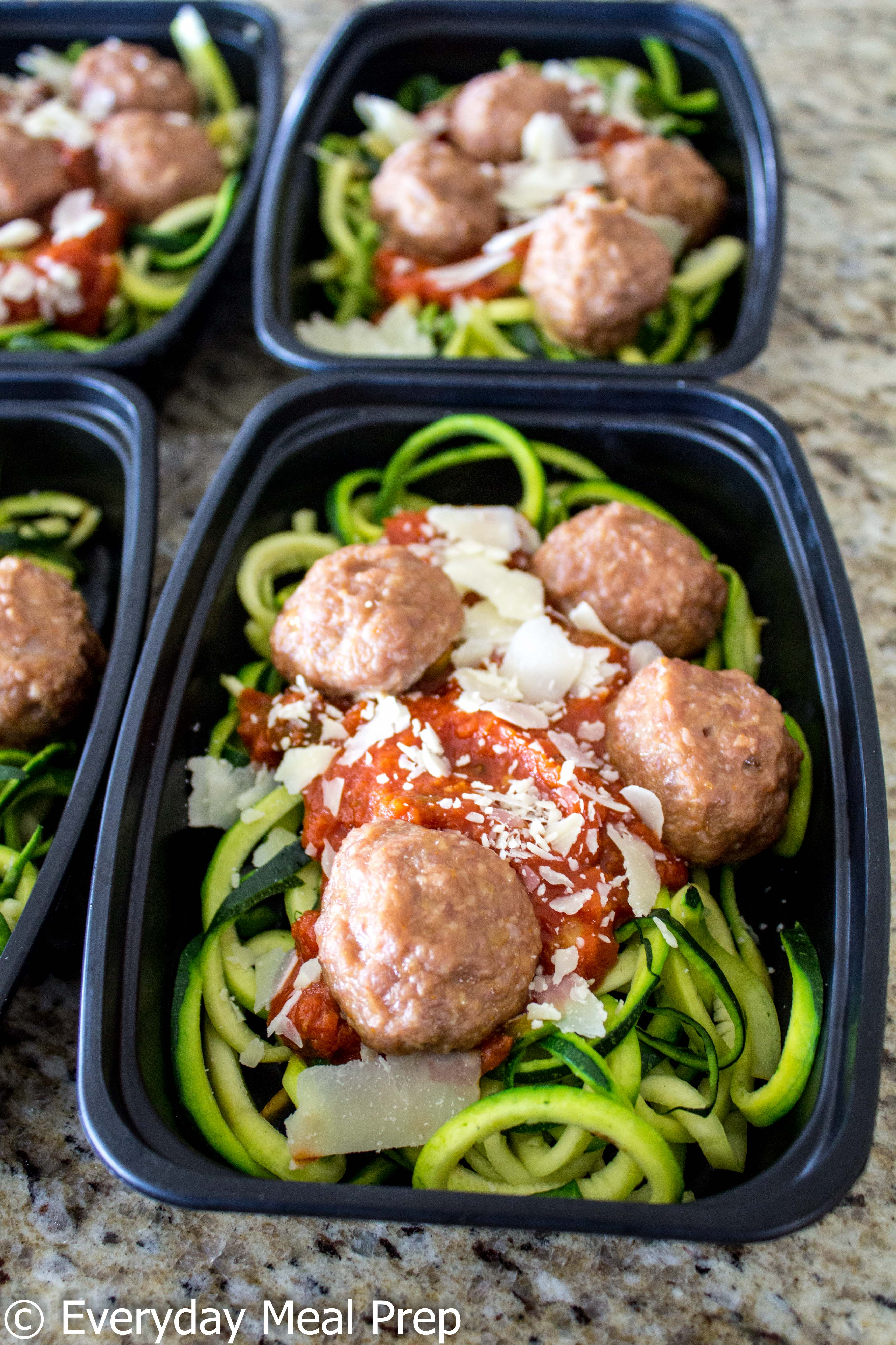 Meal Prep Zoodles with Marinara & Meatballs