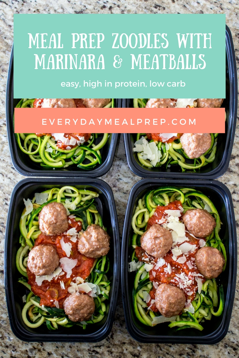 meal prep zoodles with marinara & meatballs – every meal prep