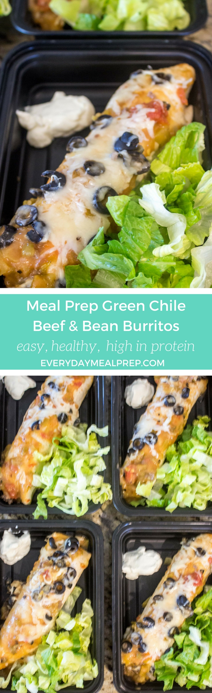 Meal Prep Green Chile Beef & Bean Burritos