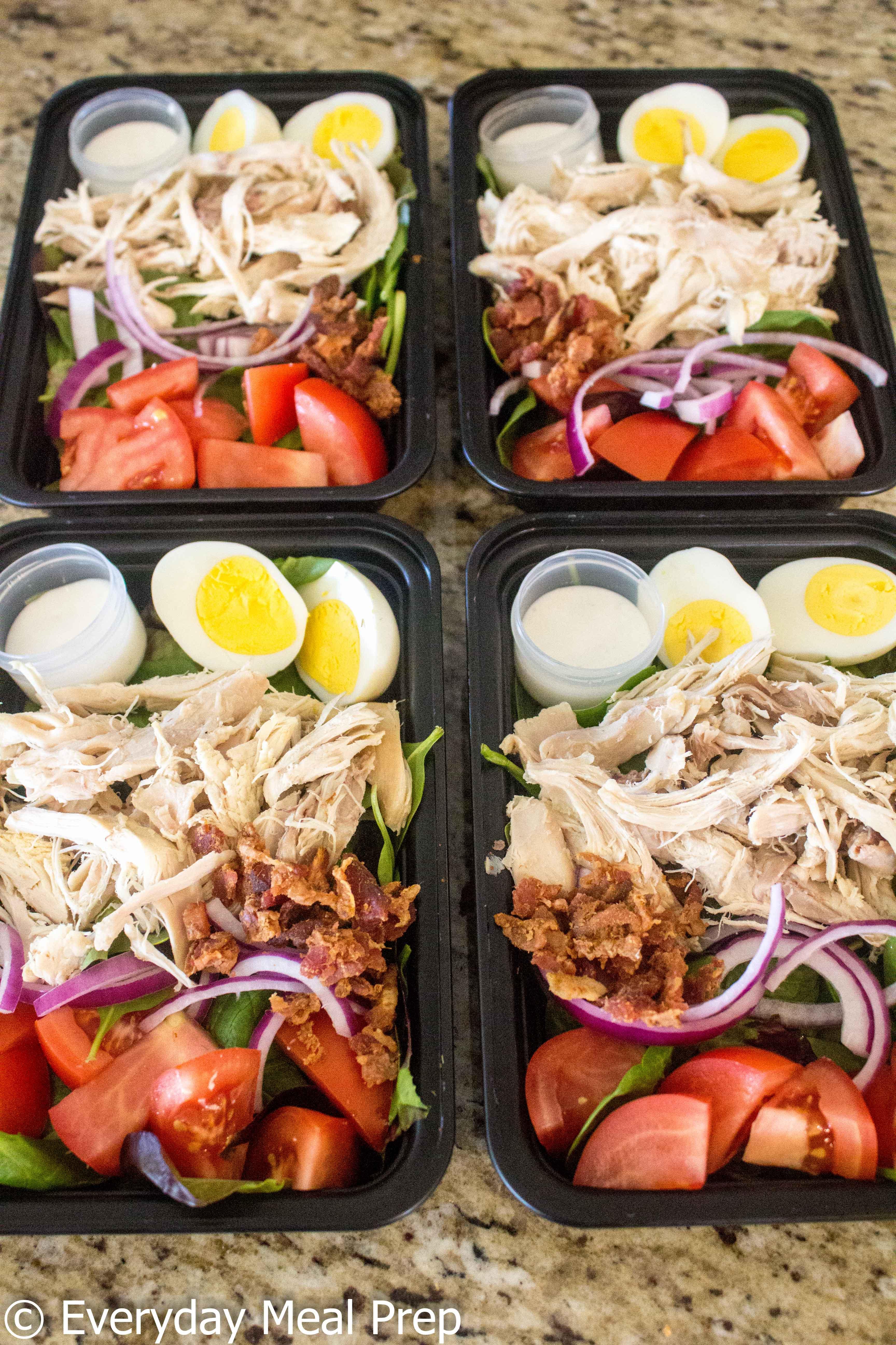 No Cook Meal Prep Chicken Cobb Salad